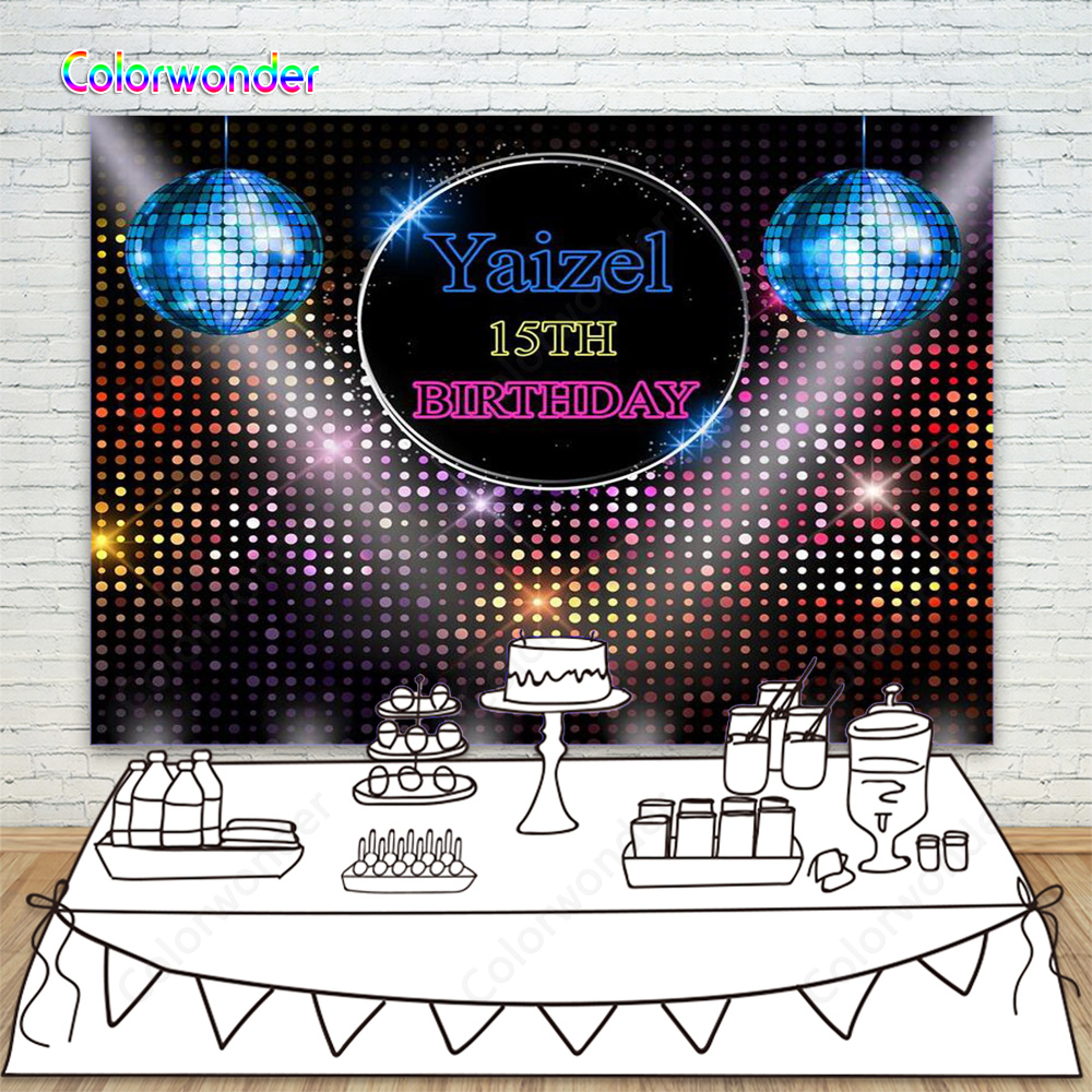 Vintage Disco Neon Photo Backdrop For Party Happy 15th Birthday Party Photography Background Custom Kids Name Banner Photocall Background Aliexpress