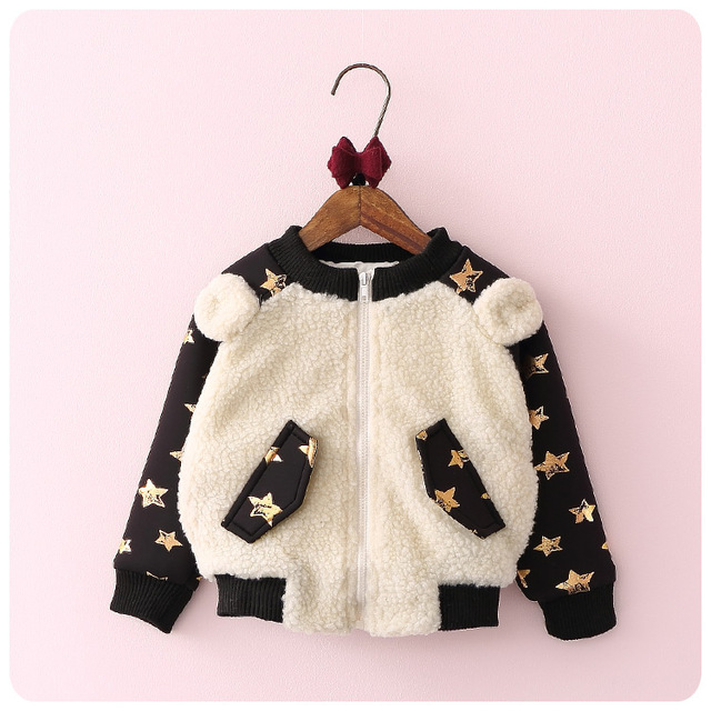 2016 otoño y el invierno de la nueva muchacha de la manera de Corea del bebé de costura, además de terciopelo chaqueta engrosamiento warm coat cardigan