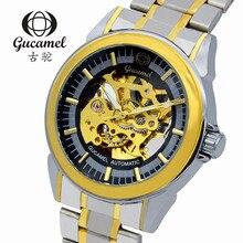 2016 Швейцария швейцарские часы мужчин бренд Gucamel Механическая полный нержавеющей Наручные Часы Водонепроницаемый Гарантия диаметр Диска 39 мм