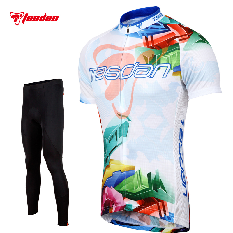 Tasdan Breathable Cycling Jersey Sets Wholesale Bicycle Clothes Online Cycling Sportswear Set for Men Sport Riding wosawe men s long sleeve cycling jersey sets breathable gel padded mtb tights sportswear for all season cycling clothings