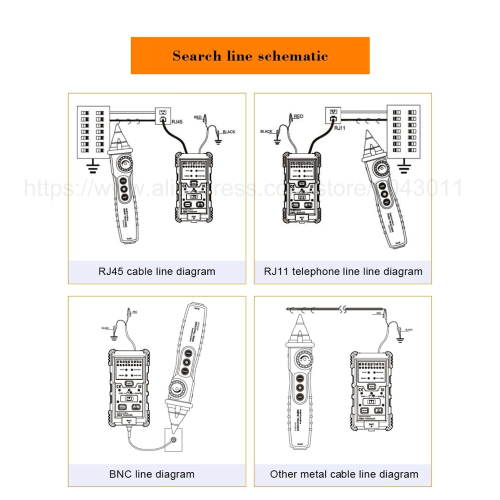 multi-function wire tracker circuit breaker finders rj45 rj11 continuity  telephone line dc level test
