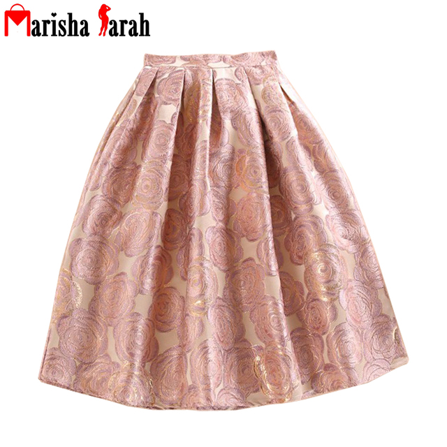 fd51c7497ee6 Spring Autumn Pink Floral Jacquard High Waist Print Pleated Maxi Skirt  Casual A-Line Skater