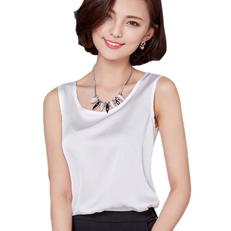 Fashion Big Size Basic Sexy Satin   Tops     Tank     Tops   Women T-shirt Sleeveless O-Neck Slim T Shirt Female Summer   Top   For Women 2018