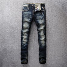 Vintage Design Fashion Men Jeans Dark Color Slim Fit Distressed Denim Pants Ripped For Streetwear Classical Male