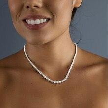 AEAW Bezel Full Moissanite Necklace in 14K white gold 42cm s