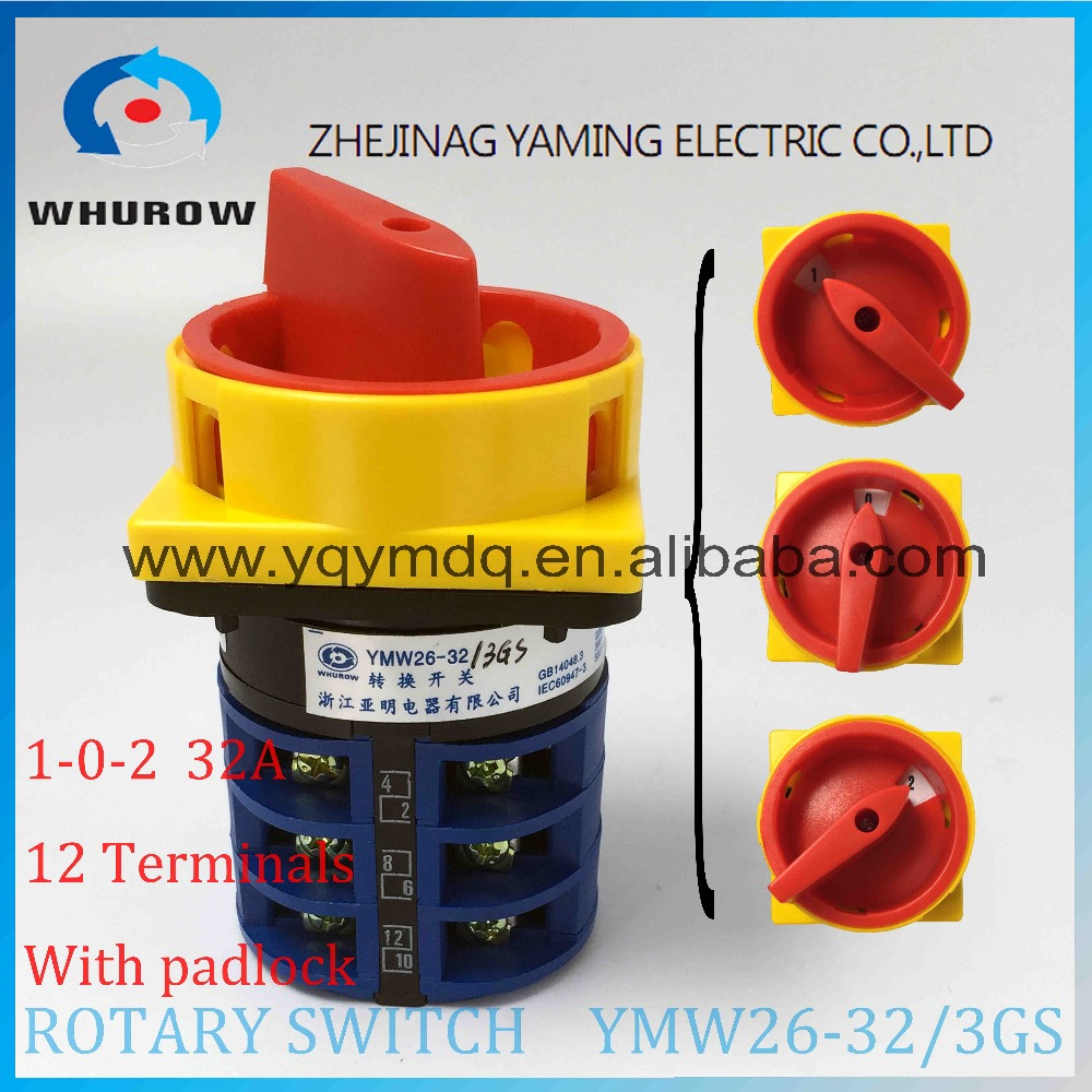 LW26 YMW26-32/3GS Rotary switch 3 postion padlock 690V 32A 3 pole 12 terminal selector universal changeover cam main switch