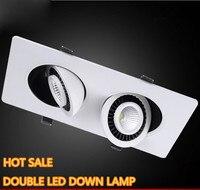 Trasporto Libero Doppio 360 rotante 20 W illuminazione a LED COB downlight 2x10 W Dimmable LED del Soffitto luce Spot Lampada Della luce CE RoHS