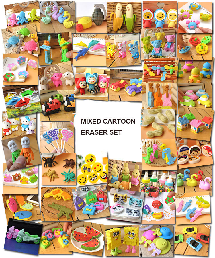 Creative Cartoon Eraser Set For Boys And Girls , Kawaii Cartoon Pencil Eraser / Rubber Collection For Kids