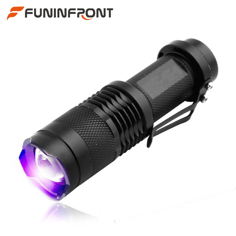 5w 365nm UV LED Senter Ultraviolet Lampe, 395nm Blacklight MINI Zoomable LED Senter UV Detektor Mata Uang Torch Clip
