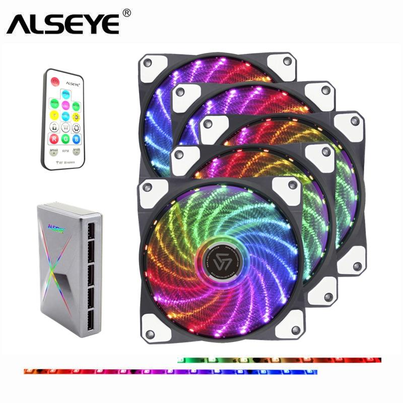 ALSEYE ventilador pc 120mm LED ventilador ordenador de caja con RF remoto PC Cooling Fan Speed Control y RGB control