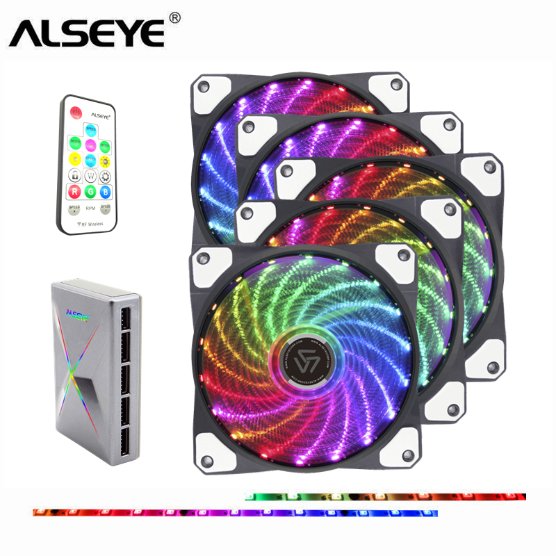 ALSEYE RGB PC Fan 120mm LED Computer Case Fan with RF Remote PC Cooling Fan Speed Control and RGB Control alseye x 200 fan controller computer fan speed and rgb controller 5 channels wifi function 2 rgb led strips sd tf card reader