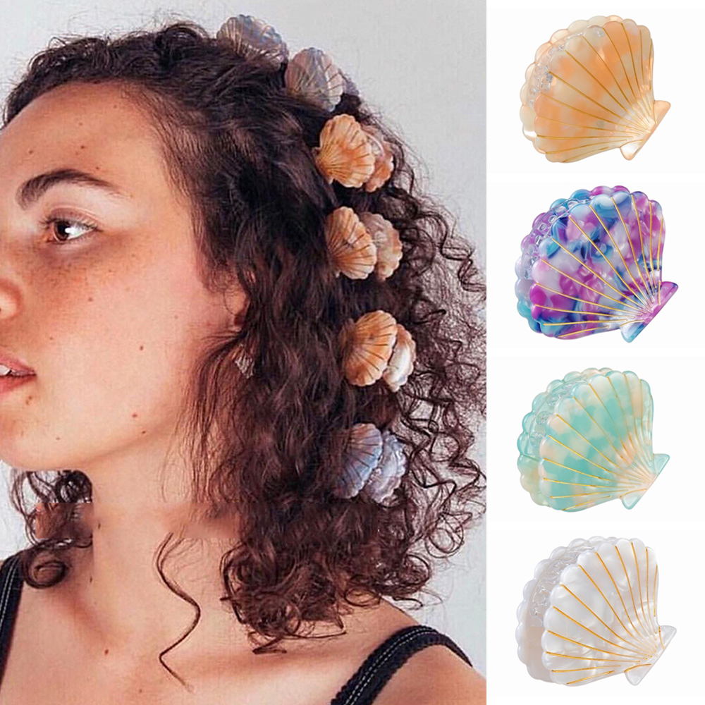 2019 Women Hair Accessories Shell Shape Acrylic Hair Claws Beach Hairpins Barrette Beauty Hair Crab Hairgrips Girl   Headwear