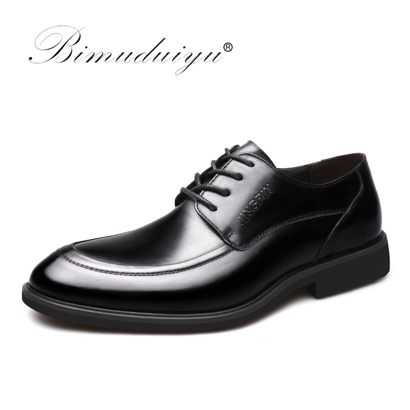 BIMUDUIYU Classic Men Dress Black Shoes Luxury Men's Business Casual Shoes Hot Sale Leather Flat Shoe Mens Oxfords Wedding Shoes hot sale luxury brand men classic oxfords italian mens leather dress shoes new men formal shoes black white patch flowers 39 46