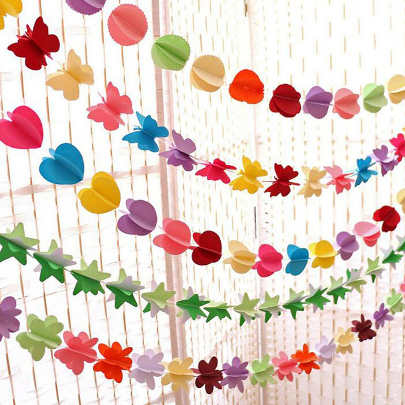 100set Hanging Paper Garland Heart Star String Wedding ...