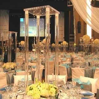 80 см (h) Свадебные кристалл таблице центральным квадратный Таблица цветок стенд Свадебные украшения