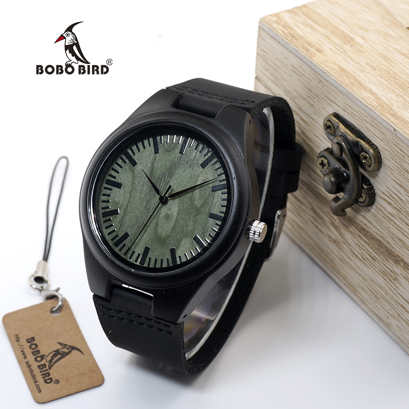 BOBO BIRD WF03 Ebony Wood Watches With Green Wood Face Real Leather Band Mens Top Brand