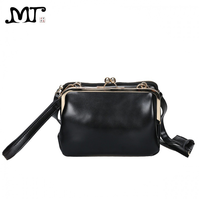 MJ Women Leather Messenger Bag Female Retro Kiss Lock Shoulder Crossbody Bags Chic PU Woman Clutch Bag Mini Leather Handbag