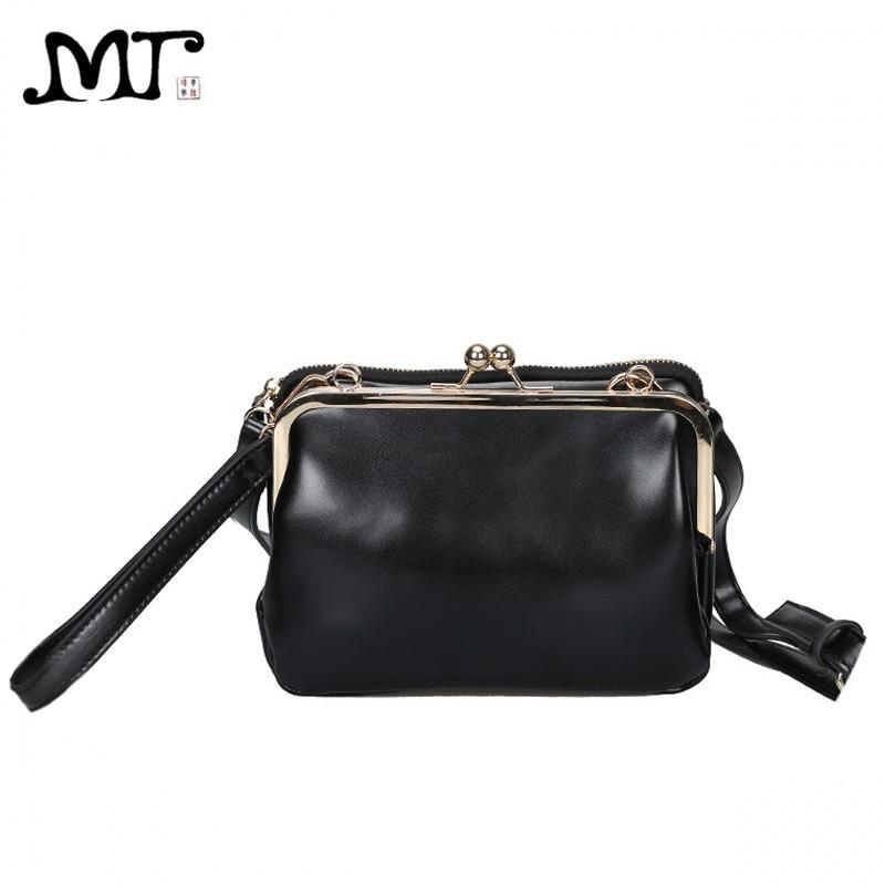 MJ Women Leather Messenger Bag Female Retro Kiss Lock Shoulder Crossbody Bags Chic PU Woman Clutch Bag Mini Leather Handbag