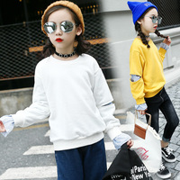 女の子長袖ラウンドネックフード付きtシャツ2018春と秋の子供の韓国語バージョン新しい緩いシャツ潮