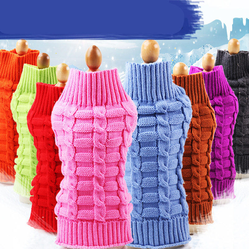 New Winter Wool Dog Sweater Simple Twisted Rope Elasticity Knitting for Medium Clothes Pets Supplies Pet