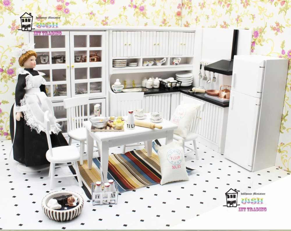 1:12 Dollhouse miniature Product combination European kitchen scene Dolls Furniture 17 PCS Classic toys Gift Kits