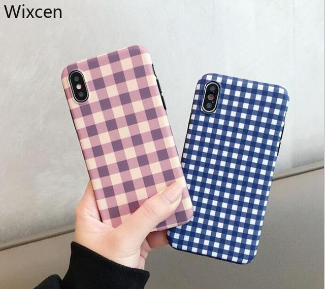 new product 9ced6 a5917 US $2.69 |Wixcen Korea Pink Plaid Phone Case for Iphone Xs Max Vintage Grid  Soft Tpu Case for Iphone 7plus 7 8 6s X Cute Back Cover-in Fitted Cases ...