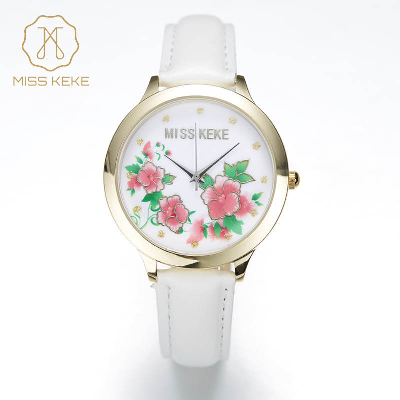 Relojes Mujer Miss Keke 3d Argile Mignon Printemps Fleur Rose Montres En Or Femmes De Mode Relogio Feminino Dames Montres 1324