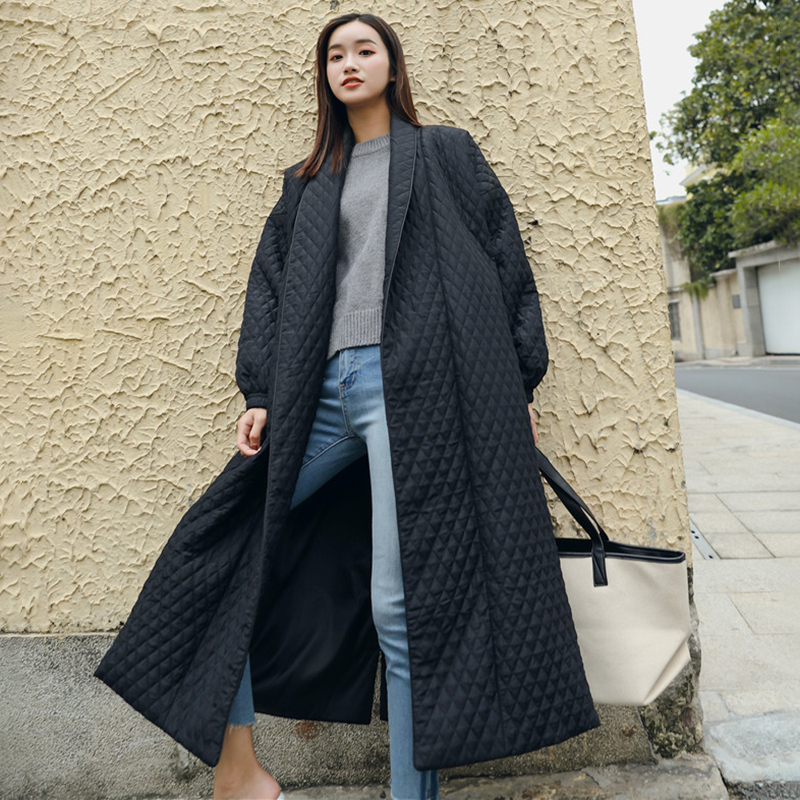 LANMREM New Fashion Black Oversize Lapel Back Vent Button Winter Jacket 18 Female's Long Cotton Coat Jaqueta Feminina WTH11 7