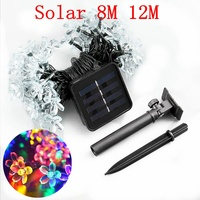 Solar String Lights LED Flowers Decorations Outdoor Waterproof Colored Blossom Garden Christmas Patio Lawn Fence Outside