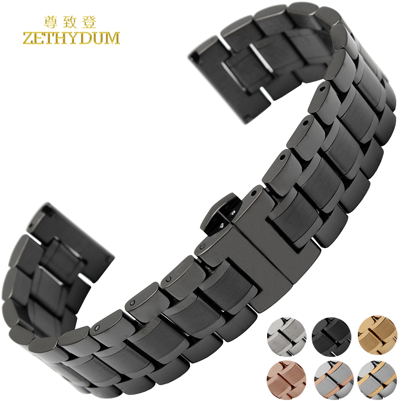 Stainless steel bracelet solid metal watchband general watch strap 14 15 16 17 18 19 20 21 22 23 24mm wristwatches band hook zlimsn silver bracelet solid stainless steel watchband 18 20 22 24mm luxury military metal band replacement relogio feminino s15