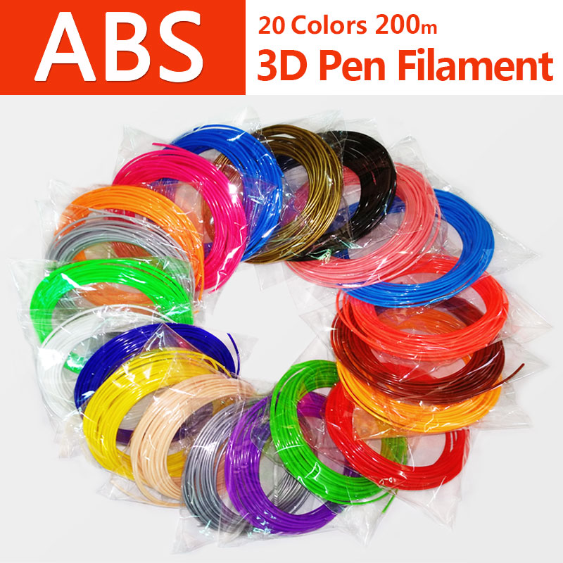 Kwaliteitsproduct abs 1.75mm 20 kleuren 3d pen filament pla filament abs filament 3d pen plastic 3d printing filament abs plastic