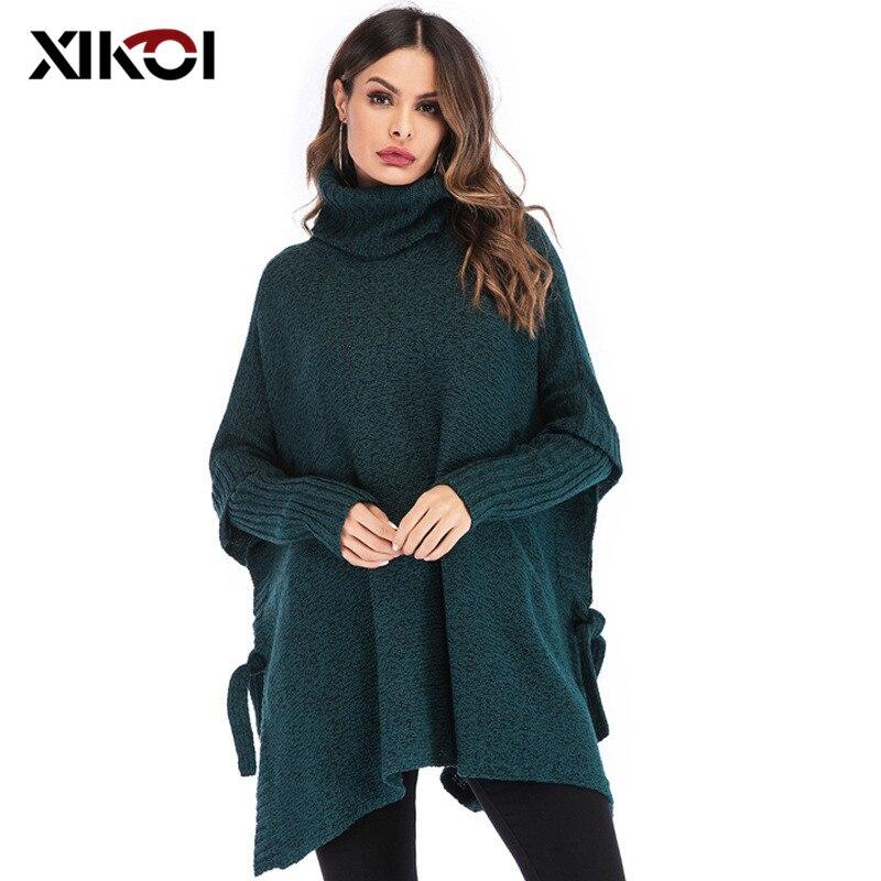 Tomwell Maglione Donna Knit Pullover Eleganti Caldo Alta Colletto Maglioni Maglieria Oversize Sciolto Tops