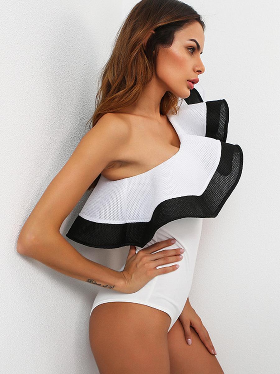 c683872dd5 Kinikiss Sexy white mesh bodysuit women tops ruffel summer jumpsuit romper  Fitness v neck mesh party club bodysuits. 1 2 3 ...