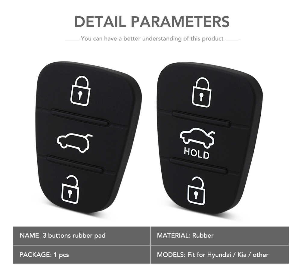 3 düğmeler silikon araba anahtarı kapağı Kauçuk Padbutton Hyundai I30 i35 iX20 Solaris Verna Kia RIO Için K2 K5 Sportage