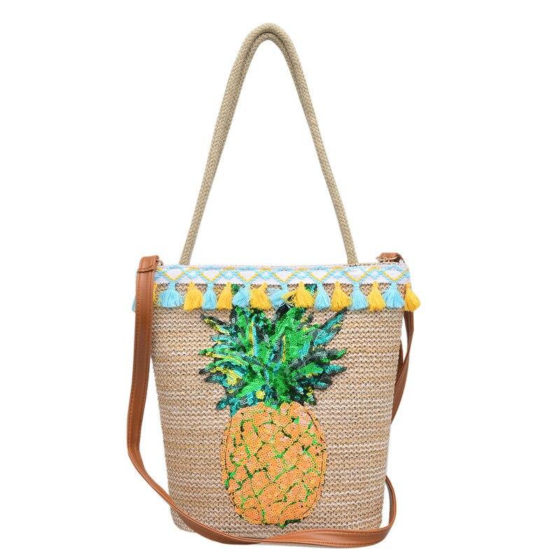 Pineapple Sequins Strips Printing Canvas Tote Bag Women's Boho Style Travel Bag Straw Weave Shopping Tassel Handbags Beach Bag