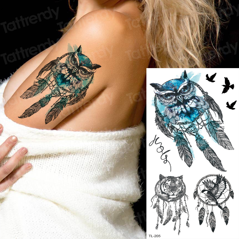 Tattoo Sleeve Women Tatoo Temporary Stickers Body Tattoos Anime Owl Unicorn Dream Catcher Tattoo Fake Water Kids Tattoo Tiger