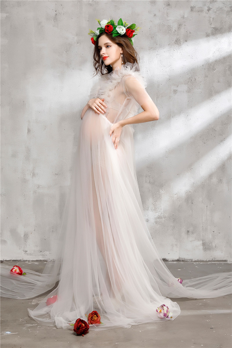 Maternity photography dress transparent mesh maternity dresses for ...