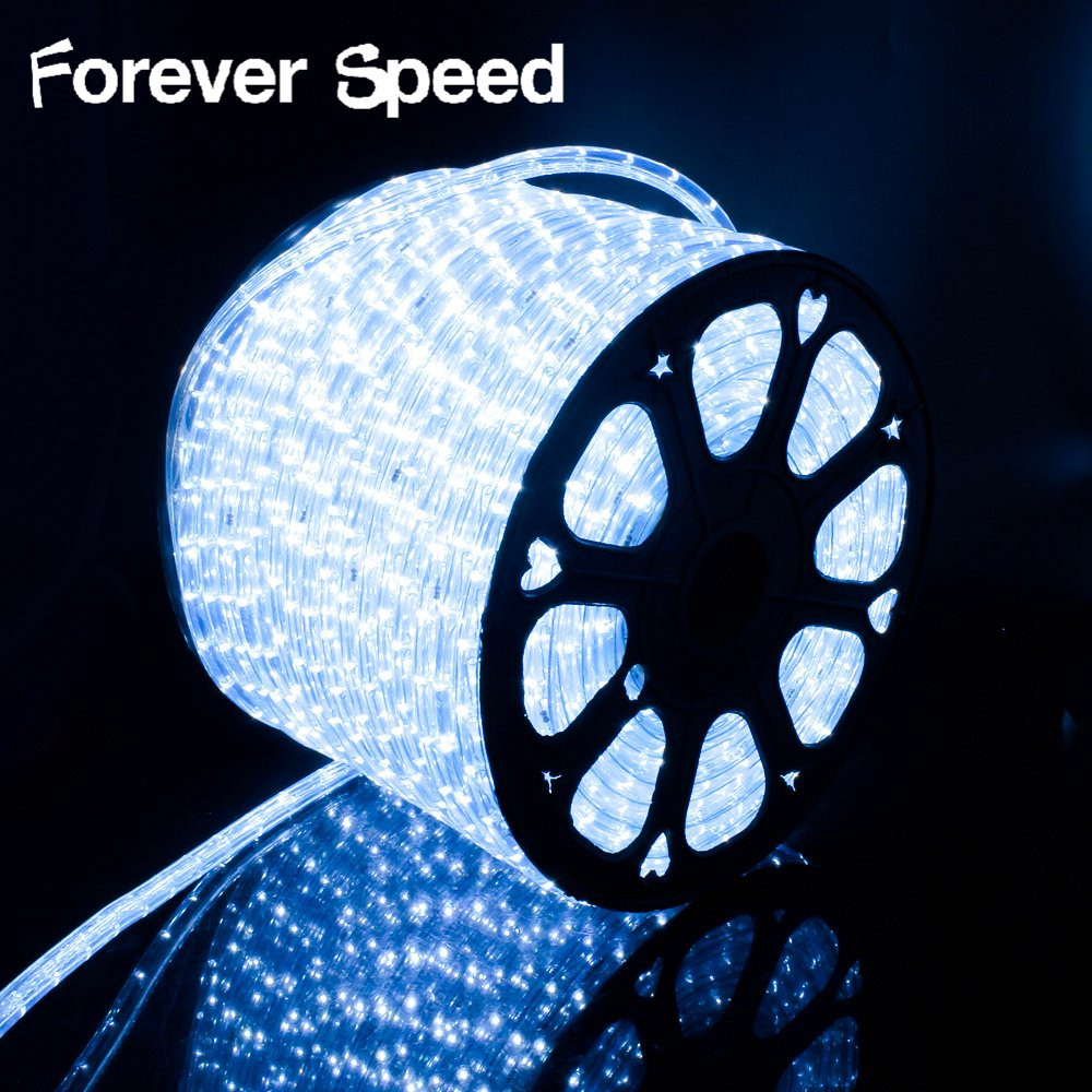50 mètres de bande LED blanche froide allume la bande allumant la lumière de noël LED 220V avec la prise de puissance de l'ue imperméabilisent la décoration extérieure