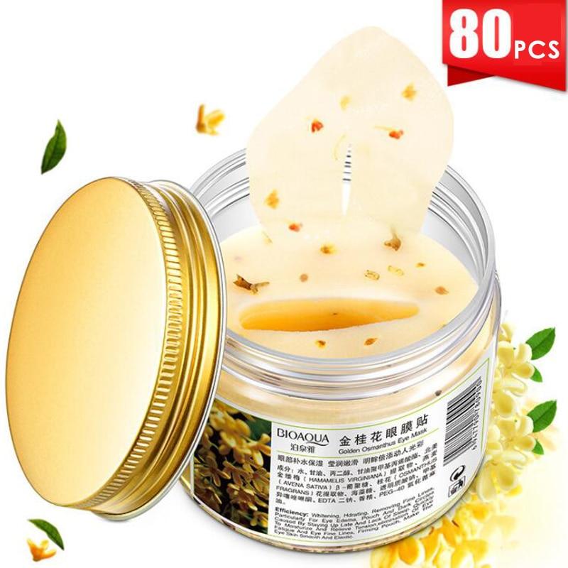 80pcs/bottle BIOAQUA Gold Osmanthus eye mask women Collagen gel whey protein face care sleep patches health mascaras de dormir|Creams| - AliExpress