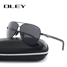 OLEY Unisex polarized Sunglasses Men luxury brand Women Retro pilot Sun Glasses Classic black lens polaroid UV400  Y109