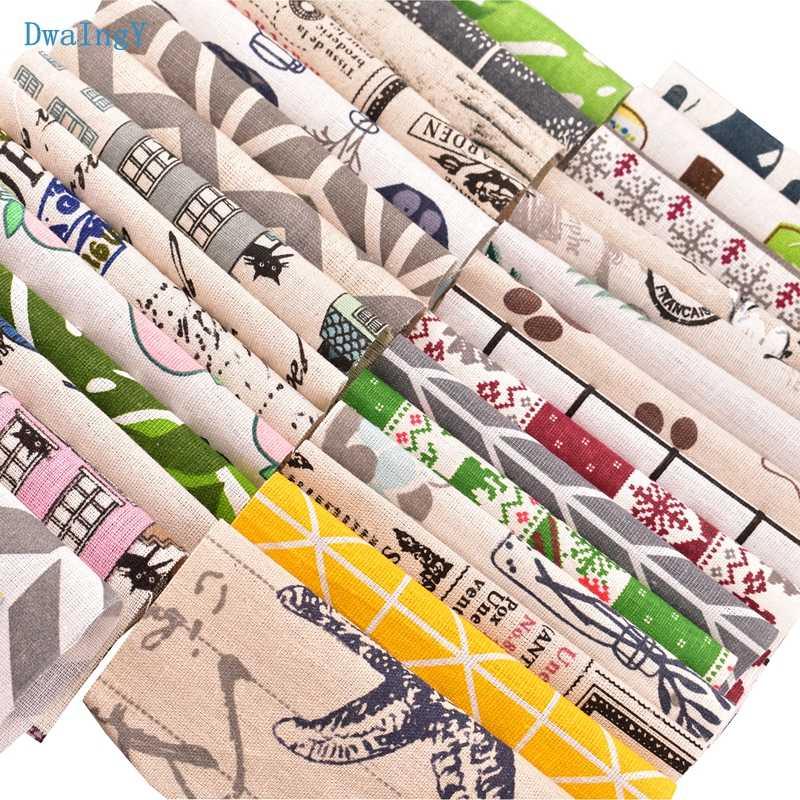 DwaIngY 30 pcs/lot couleur aléatoire, tissu en lin de coton imprimé pour Patchwork, bricolage, Quilting, couture napperon sacs matériel 15cm x 15cm