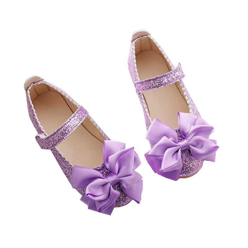 48c1fdd4afaa Flowers Children Little Girls Kids Spring Sequins Baby Dress Shoes For Girls  School Purple Gold Party