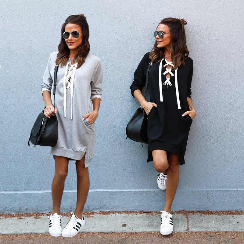 الخريف والشتاء المرأة الأشرطة طويلة الأكمام اللباس سترة المرأة زائد حجم أسود بلون عارضة البلوز اللباس