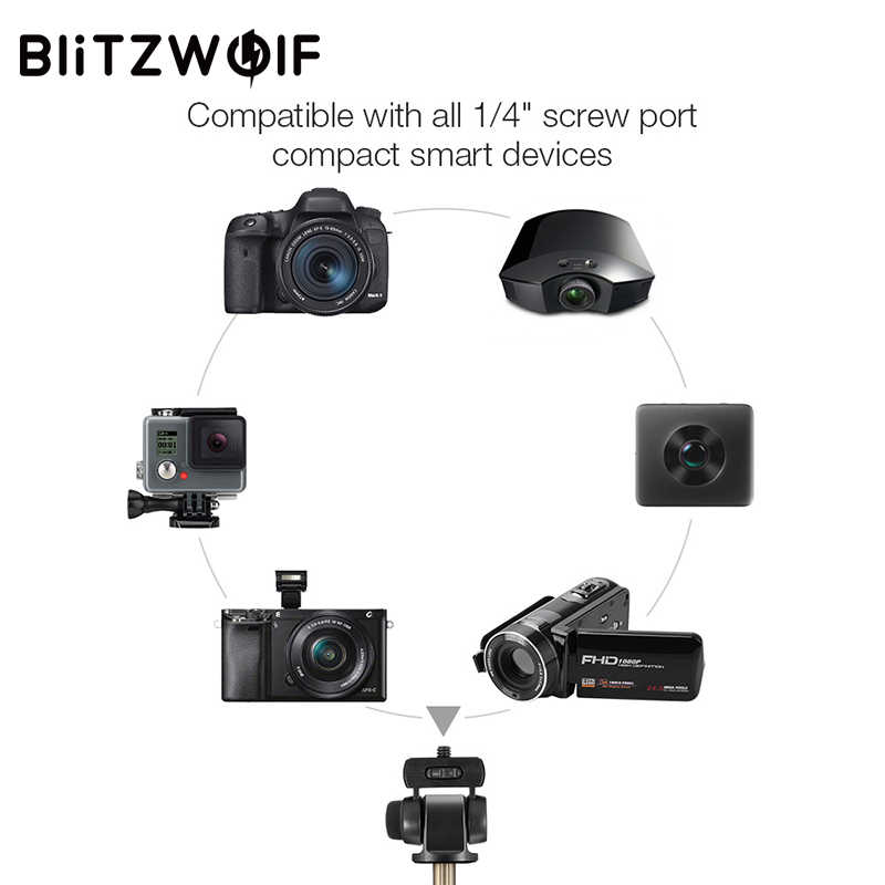 BlitzWolf 4 в 1 штатив для камеры bluetooth селфи палка Беспроводной монопод для Gopro 5 6 7 Спортивная камера для iPhone X 8 смартфон
