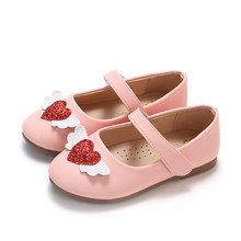 COZULMA New Baby Kids Shoes for Girls Princess Wing Red Heart Shoes Baby Girls PU Leather Shoes Children Kids Soft Bottom Flats(China)