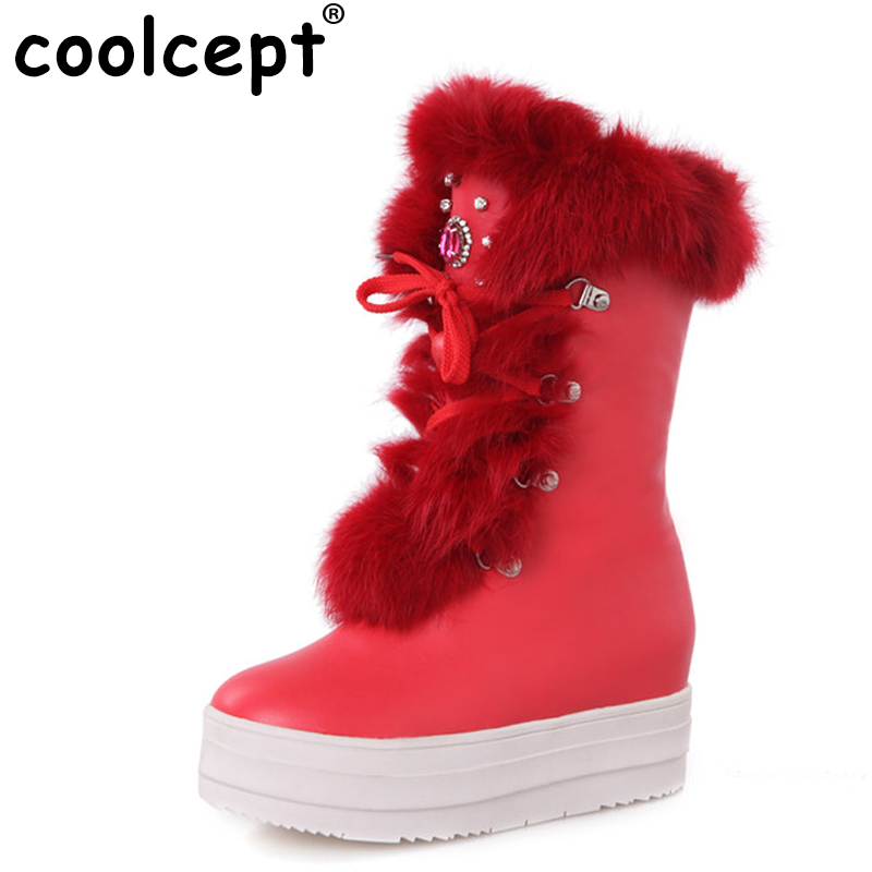women flat half short boots thicken fur winter snow warm mid calf boot leisure botas platform footwear shoes P21087 size 34-39 купить