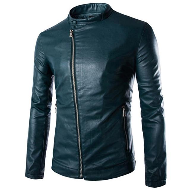 New Green Pu Leather Jacket Men 2015 Autumn Winter Fashion Mens Slim Fit Motorcycle Biker Jacket Men Brand Veste Cuir Homme Xxl