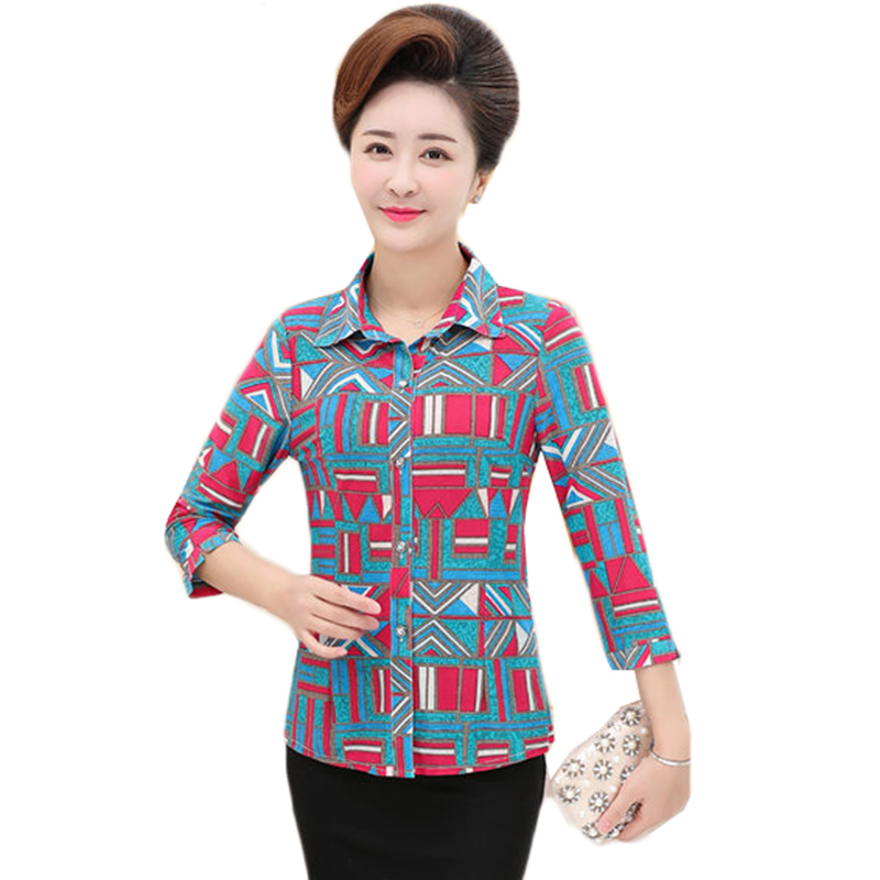 Silk Print Blouse Women Casual Summer Middle Age Loose Shirt Blusa Feminina Tops And Blouses Cardigan Mujer Plus Size 5XL W886