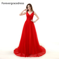 Forevergracedress New Style Hot Red Long Evening Dress Handmade Flowers Tulle Beaded Formal Party Gown Plus Size