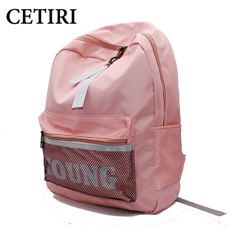 CETIRI Backpack Pink women bag Ulzzang Japanese Harajuku canvas Nylon bag school girl backpack large kawaii young travel bag sac